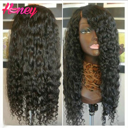 full lace wig side part Canada - Brazilian deep curly silk top full lace wigs&lace front wigs 7A grade unprocessed full lace human hair wigs for black women Side Part