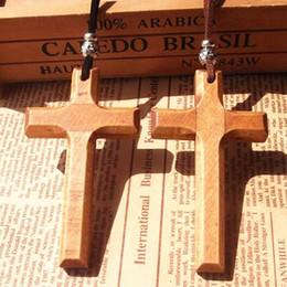 $enCountryForm.capitalKeyWord NZ - Jesus wooden cross pendant necklace vintage long sweater chain silver beads leather cord men women jewelry handmade stylish Xmas gifts 12pcs