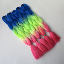 Discount neon hair extensions 2017 neon hair extensions on sale 5pcs 100g pc 24 blue neon yellow pink ombre kanekalon braiding hair synthetic two tone kanekalon jumbo braid hair extensions discount neon hair extensions pmusecretfo Image collections