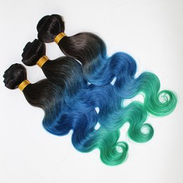 $enCountryForm.capitalKeyWord Canada - Three Tone Malaysian Body Wave Ombre Hair 3Bundles 300G Lot #1B Blue Green Ombre Human Hair Weaves Ombre Wavy Extensions