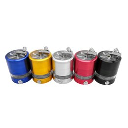 metal flashing colors UK - top quality battery shape 4 layers 63 mm metal smoking Hand Crusher With lamp Herb Tobacco grinders 4 colors Flashing LED lights