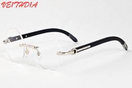 db34cbb7fe 2017 brand designer black buffalo horn glasses men round circle lenses wood  frame eyeglasses women rimless sunglasses with box case
