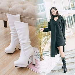 Spring Water Quality Canada - Women Water Proof High Heel Mid Calf Boots Woman Sexy Round Toe Heels Shoes Good Quality Half Short Botas Feminina Size 33-43