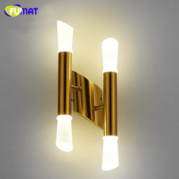 Discount stair hallway wall lights stair hallway wall lights 2018 fumat modern gold metal led wall lamps aisle hallway stairs sconces bedroom bedside light designer simple wall light affordable stair hallway wall lights aloadofball Image collections