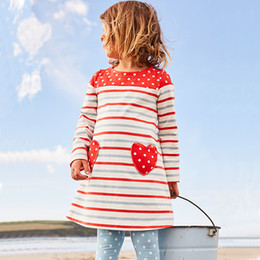 Vestidos De Punto Rojo Baratos-Everweekend Lovely Kids Girls Stripe Patchwork Dots Vestido de la princesa Western Fashion Fashion Sweet Heart Vestido de color rojo