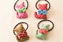 $enCountryForm.capitalKeyWord Canada - Wholesale 20pcs Cute Polka Dot Cat with Bow Baby Girls Elastic Hair Bands Hair Rope Gum Rubber Band Baby Girls Hair Accessories