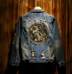 Barato Denim Jeans Jaquetas Homens-Tide Men's Denim Jacket Tiger Head Patch Coat Do Vintage Old Washed Slim Hole Jean Jacket Casacos