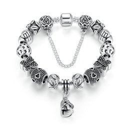 Dangling Chain NZ - Vintage Beaded Charm Bracelets with Butterfly Charms & Linked Heart Dangles Silver DIY Snake Chain Bangle Bracelets BL239