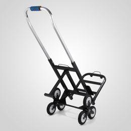 Venta al por mayor de 190 KG Acero al carbono Portátil Seis ruedas Rueda Escalada Plegable Carrito ajustable Subida Carretilla de mano Carretilla con ruedas de respaldo