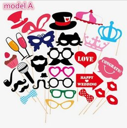 Photo Paper Supplies Canada - 1set 31pcs graduation birthday party Photo Props Moustache Hat Small Eyes Paper Beard Wedding Party Supplies Bachelorette Party Photo Booth