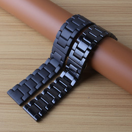 Matte watches online shopping - Black polished and matte watchband ceramic Watches Men Women Accessories fashion bracelet with butterfly buckle mm mm fit Smart watches