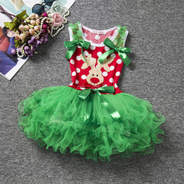 kids carnival clothing Australia - New baby girls christmas dress sleeveless infant kids tutu tired skirts lovely child girl's dot dresses deer X'mas holiday clothes