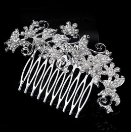 pearl head comb Canada - Elegant Bridal Hair Accessories Tiara Hair Pins Women's Crystal Rhinestones Pearls Decor Flower Style Hair Comb Clip Bridal Head Pieces