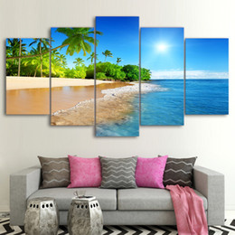 beach canvas print framed UK - 5 Pcs Set Framed Printed Tropical Beach Sunshine Palm Trees Poster Modern Home Wall Decor Canvas Picture Art HD Print Painting