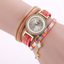 Diamond Bracelet Digital Watch Canada - 50Pieces Leather Chain Diamond Women Bracelet Watch Leisure Ladies Double Heart Key Pendant Dress Quartz Colorful Wholesale Watches