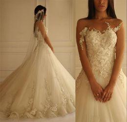 luxury romantic wedding dresses 2019 - 2016 Romantic Luxury 3D Floral Lace Applique Wedding Dresses Yasmine Yeya Long Sleeves Flowers Beaded Backless Court Tra