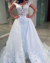 $enCountryForm.capitalKeyWord NZ - Elegant Mermaid Wedding Dresses With Detachable Skirt 2018 Sheer Neckline Appliques Cap Sleeve Court Train Overskirts Bridal Gowns Custom