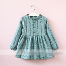 Ligne De Robes Coréennes Pas Cher-Everweekend Girls Dots Branch Print Robe Ruffles Cute Baby Fleece Doublure Habillement Princes Korean Fashion Autumn Winter Clothing