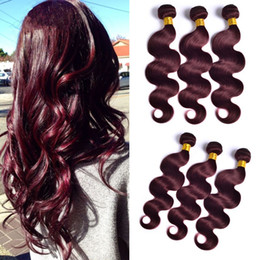 $enCountryForm.capitalKeyWord Canada - New Arrival 99J Burgundy Brazilian Virgin Human Hair Extensions Body Wave Wavy Virgin Brazilian Human Hair Weaves Bundles 3Pcs Lot
