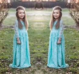 Kids mint dress online shopping - 2016 Light Blue Lace Flower Girl Dresses For Wedding Mint Green Long Sleeve Girl Pageant Gowns Custom Made Kids Formal Party Dresses