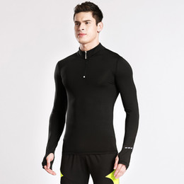 Quick Dry Shirts For Men Canada - Wholesale-2017 New Men Velvet Compression Shirts Reflective Gym Running Jackets Quick dry Sports Soccer Basketball Jerseys Jackets For Men