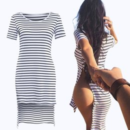 Robe À Rayures Irrégulières Pas Cher-Summer Irregular Side Vent Stripe Sexy Mooning Mini- Robe en mousseline de soie 2016 Clubwear Mini Ladies Lace Bodycon V Neck Womens Club Robes