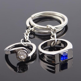 Romantic paiR keychain online shopping - Resin Rhinestone Ring Zinc Alloy Couples Keychains Romantic Statement Jewelry Pairs Rings Lovers Keychain Keyrings Valentine s DayGift