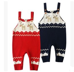 $enCountryForm.capitalKeyWord Canada - Christmas Overalls Jumpsuits For Baby Xmas Deer Overalls Newborn Babie Woollen Suspender Jumpsuits Infants Toddlers Rompers For 0-2T