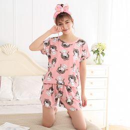 Wholesale- Women Pajamas Sets Summer Short Sleeve Thin Cotton Cartoon Print  Cute Loose Sleepwear Girl pijamas Mujer Nightgown For Women 1f179d4a2