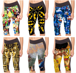 Beauté Spandex Pas Cher-Women Tight Sports Capri Pantalons 3D Print Bottom Leggings Jogging Yoga Cropped Alice au pays des merveilles Beauté et bête Egyptian PharaohLN7Slgs