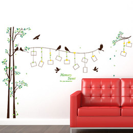 online shopping DIY Modern Photo Frame Birds Tree Wall Stickers Bedroom Living Room TV Backdrop Decoration PVC Wall Decor Waterproof Removable Wallpaper