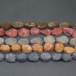 $enCountryForm.capitalKeyWord Australia - Full Strand Natural Druzy Agate Beads, Dyed Gems Stone Point Pendant, Crystal Quartz Drusy Geode Drilled Fashion Jewelry Necklace Connector