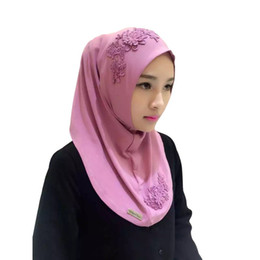 Chinese  Wholesale- Solid Women Ladies Lace Embroidery Headband Hijab Islamic Scarves Bonnet Shawls Muslim Scarf manufacturers