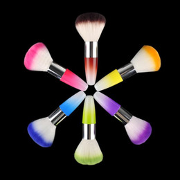 Nail art flock online shopping - Nail Art Dust Powder Brushes Flocking Remover Cleaner Concealer Foundation Makeup Cosmetic Brushes Manicure Pedicure Tool MIX COLOR