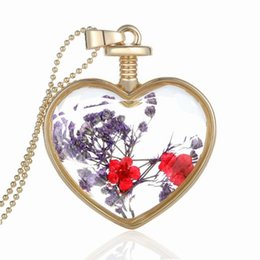 glasses golden chain UK - New fashion Pendants heart crystal necklace alloy Love golden flower phase box long floating locket crystal glass pendant necklace