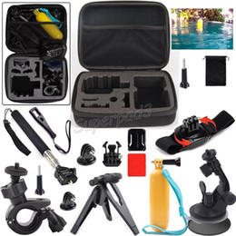 head mounts for action camera Canada - 13 in 1 Mount Kit Set Floaty Bobber Monopods Tripods Accessories For GoPro Hero 4 3+ Sports Action Camera + Carry Case Free Shipping