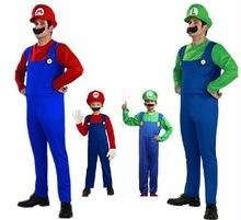 Barato Cosplay Mario Cosplay-50 Set Cheap 2017 Halloween Cosplay Costumes Super Mario Luigi Brothers Fantasia Dress Up Party Cute Costume para crianças adultas CS003
