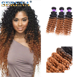 thick virgin remy hair extensions Canada - Thick and Smooth Malaysian Kinky Curly Wave Ombre Hair Extensions Two Tone Colored #1B 30 10-30'' Deep Wave Virgin Remy Human Hair Weaves