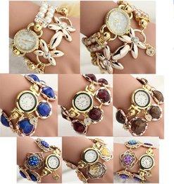 $enCountryForm.capitalKeyWord NZ - 3 New Styles Fashion Korean Flower Pearls Rhinestones Crystal Wrist Watch Charm Bracelet Creative Student Wrap Watch Jewelry