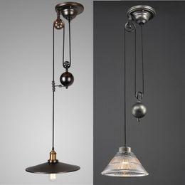 Industrial Vintage Pulley Pendant Light Ceiling Lamp Retractable Chandelier  Decor