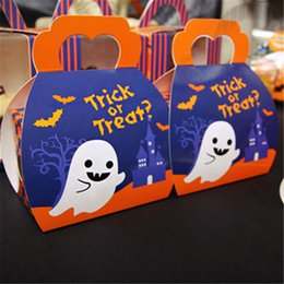 "candy treat boxes Canada - Halloween Festival ""Trick or Treat"" Pumpkin Paperboard Candy Box Gift Packing Cake Box Storage Package Pastry CupCake Box DHL Free Shipping"