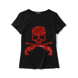 Tops Roses Pas Cher-Vente en gros- Nouveau rose skull crystal women t shirt 2017 Fashion short sleeve women tee shirt plus taille diamond skull summer top tees HOT