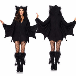 Trajes De Noche Vampiro Baratos-Black Night Wandering Ghost Vampire Witch Batman Vestidos Disfraces de Halloween Cosplay para Mujer M XL