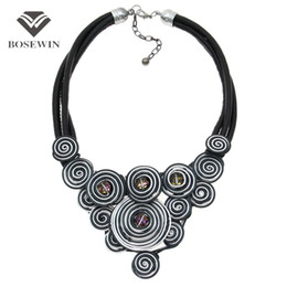 UniqUe chokers online shopping - BoseWin Unique Design Choker fashion Handmade Jewelry Fashion Leather Chain Spiral Metal Wire Crystal Statement Necklace CE4146