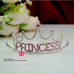 tiara birthday crown NZ - Sale Princess Tiaras Popular Crowns Pink Rose Rhinestone Crystal Birthday Party Gift Present Hairwear Pretty Girls Children Pageant Mo146