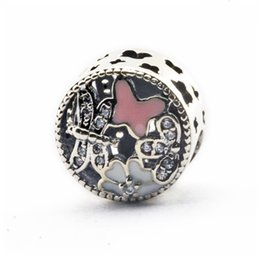 Authentic Flowers Australia - Flowers Charms Beads Authentic 925 Sterling-Silver-Jewelry Pink Enamel Butterfly Animal Bead Fits DIY Brand Logo Bracelets Jewelry Making