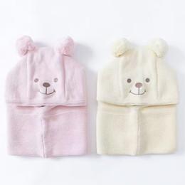 $enCountryForm.capitalKeyWord Canada - Wholesale Lovely Baby Earmuffs Cap Ear winter windproof hats and scarf set for kids crochet headgear soft warm Hat Knit baby winter beanies
