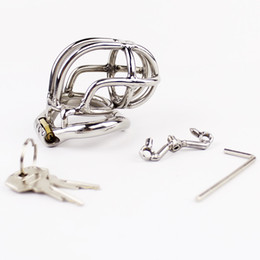 Chinese  Stainless Steel Small Male Chastity Device 55mm length Curve Chastity Cage Spike Ring Metal Penis Lock BDSM Sex Toys For Men manufacturers