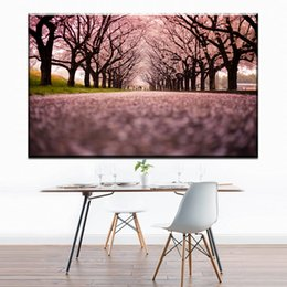 Cherry blossom landsCape painting online shopping - ZZ1691 modern decorative canvas wall art beautiful nature scenery of cherry blossom tree canvas oil art painting for home wall