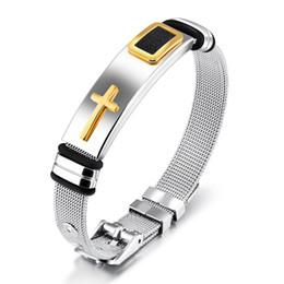 Groihandel Religiöse Christian Mens Edelstahl Kruzifix Kreuz Armreif Armband Für Männer Jungen Sportliche Armband Größe Einstellbar